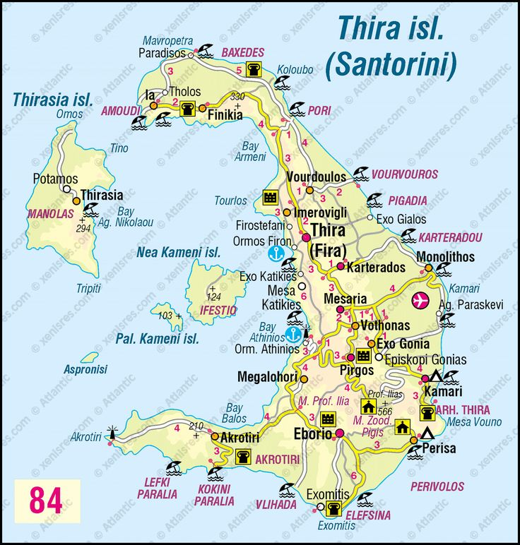 Thira Island Santorini Map