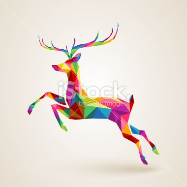 Pliage, Nouvel an, Famille du cerf, Retour du rétro, Triangle Illustration vectorielle libre de droits