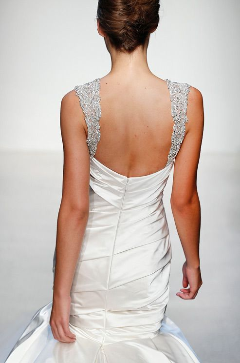 Beaded straps on a Kenneth Pool wedding gown, Fall 2013.