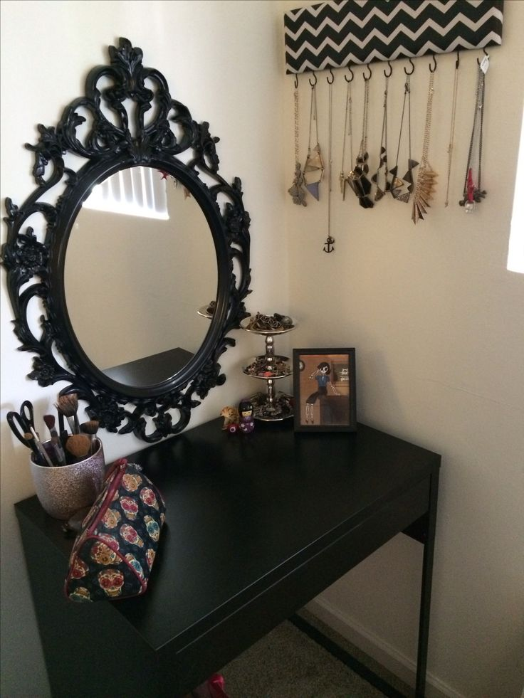 Cute idea for DIY vanity a mall table then put a little clear storage container on the table each drawer for a type of make up a brush holder on opposite side and then hand a cute mirror... little to no damage for moving