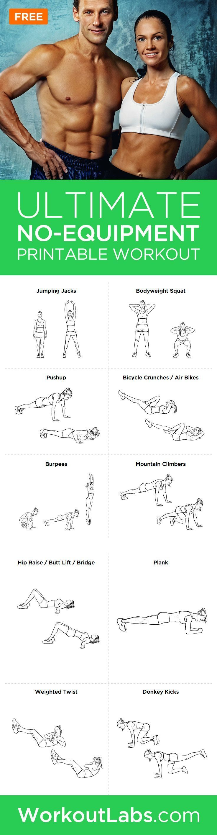 Ultimate At-Home No Equipment Workout Plan for Men and Women – Need a good full-body home-based workout that doesn't require gym equipment? Try this intense two-page bodyweight workout that you can do anywhere!