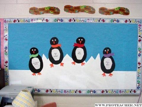 Penguin bulletin board ideas writing center language arts penguin