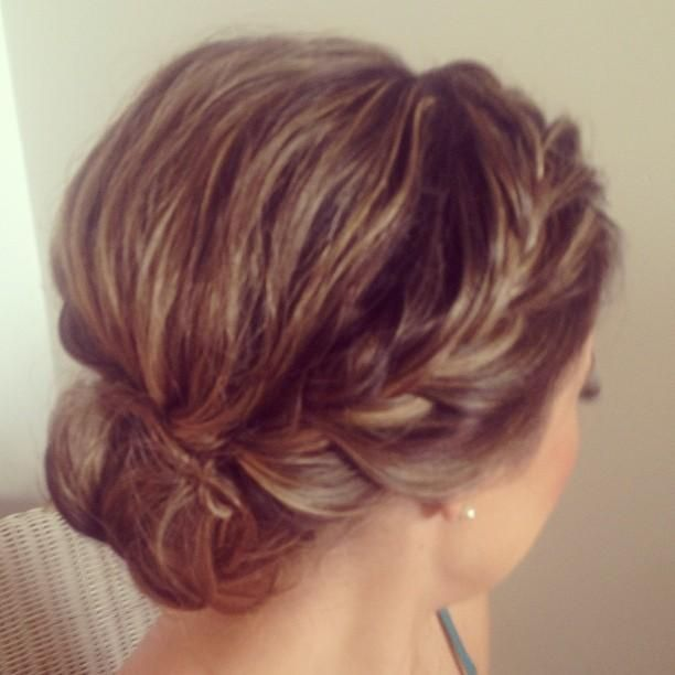 Messy Updo & Braid - good way to keep my hair from blowing in my face on a boat wedding (especially for pictures!!)