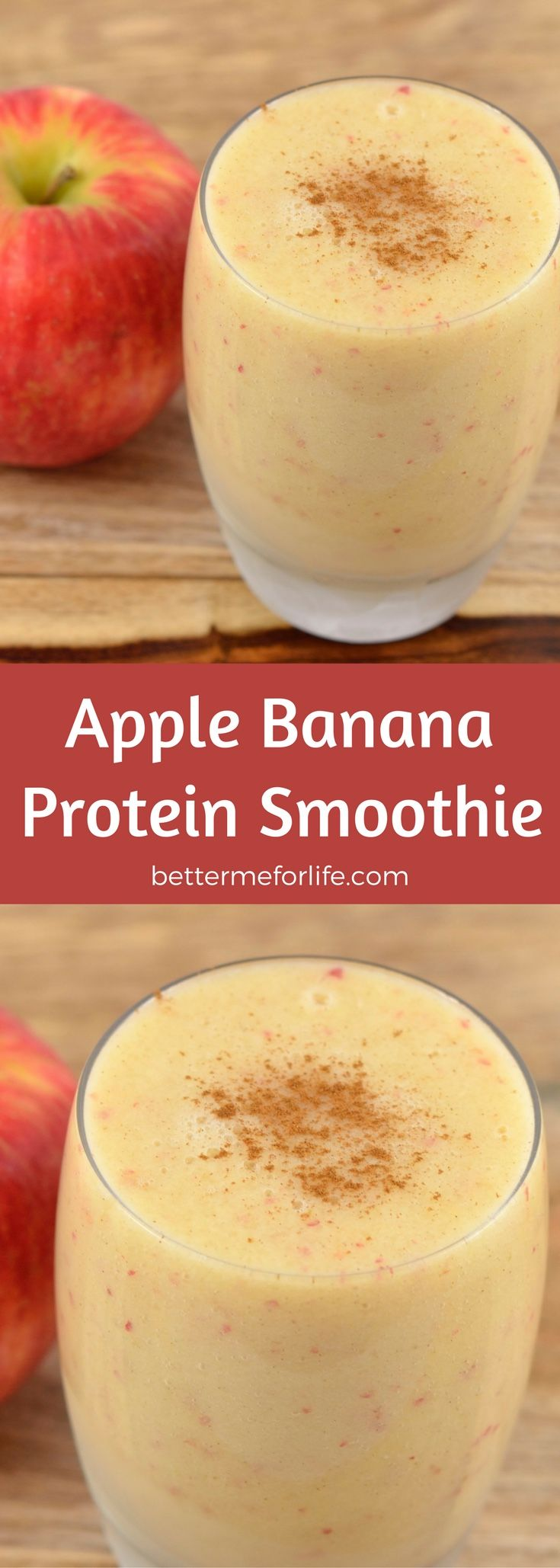 Simple and refreshing, this apple banana protein smoothie is a delightful pick-me-up with loads of vitamins, minerals, and fiber. Find the recipe on BetterMeforLife.com | protein smoothie recipes | protein smoothies | healthy protein smoothies | delicious http://juicerblendercenter.com/tips-in-selecting-the-best-juice-maker/