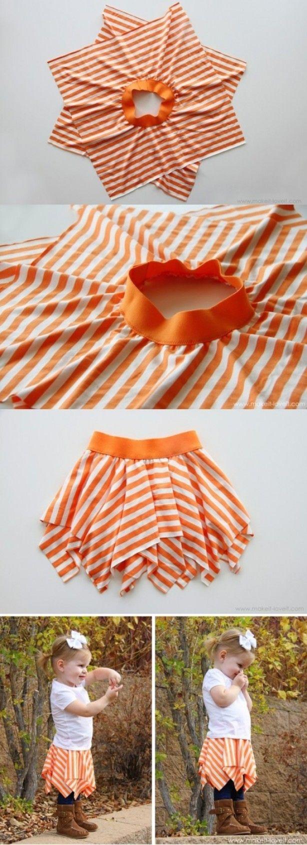 Zelf een rokje maken: supersimpel! DIY meisjesrok. Girls skirt.