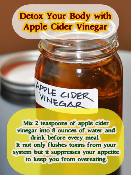 Detox Your Body with Apple Cider Vinegar #detox #applecidervinegar #vinegar #cleanse I love ACV. :) I'll usually pair it with the honey and cinnamon drink in the mornings and before bed.