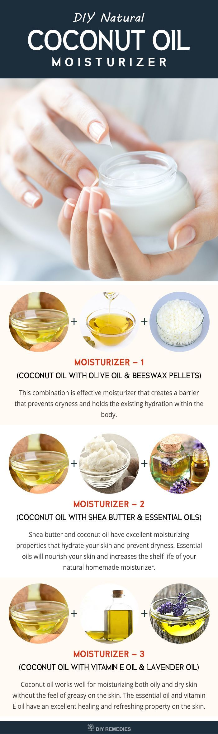 DIY Coconut Oil Skin Moisturizer    Moisturizers will play a key role in making the skin smooth, young and supple by hydrating and soothing the skin. Many cosmetic moisturizers contain chemicals that moisturize your skin but in a longer run cause some side effects like over drying than before.   #moisturize #coconutoil