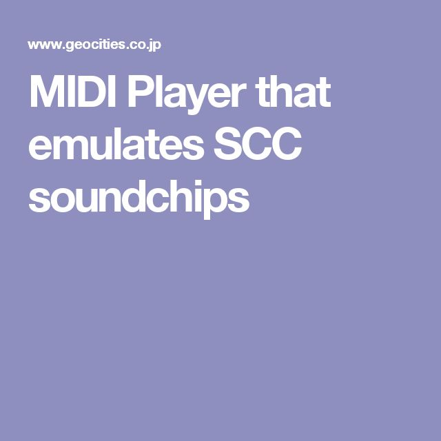 MIDI Player that emulates SCC soundchips