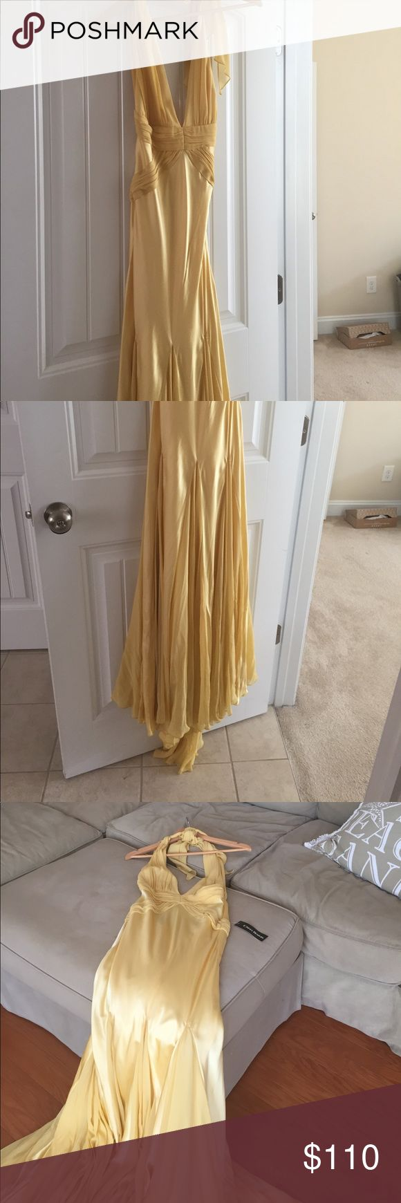 Prom / formal elegant silk gown Canary yellow silk formal gown perfect for prom, wedding, or pageant affair. Train gracefully flows as you walk like a princess! Brand new with tags never worn. Needs a new home where it can shine bright like a diamond!  ⭐️🌟☀️💎💎💎 Dresses Backless