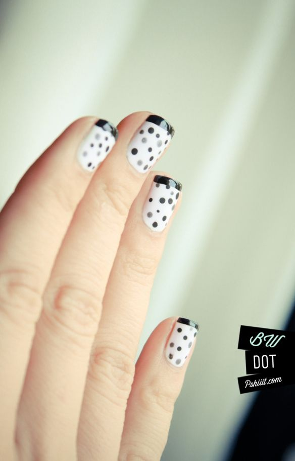 French manicure with black, gray and silver dots