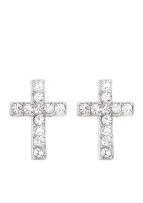 Spartina 449 Women Silver-Tone Crystal Cross Stud Earrings - Silver - One Size