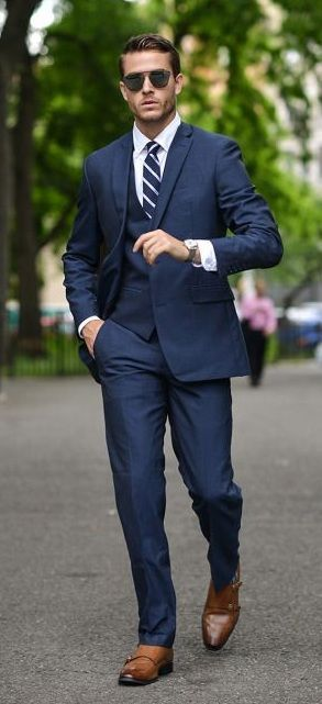 Smart And Simple Navy Blue Suit With Brown Dress Shoes Mens Suits