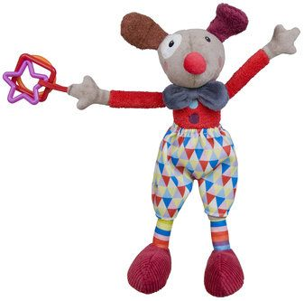 Alfred the activity clown will do his show soon ! Pull on his red Clown nose and shake his head with the vibrator. In his large shoose is a bell on a side and a squeaker on other side. 3 plastic rings (square, triangl, round shape) and crinkle paper in the ears.