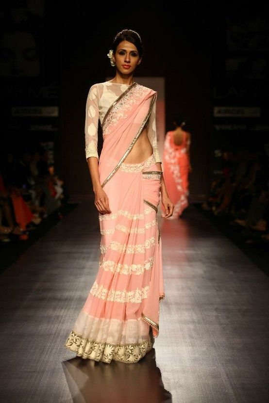 Manish Malhotra #saree - Lakme Fashion Week SR 2013 - Visit http://www.yourdreamshaadi.co.uk for all the advice, inspiration and supplier contacts you need to plan your dream #asianwedding! #Asian #Bridal #Bridalwear #Asianwedding #Weddingdress #catwalk #pink
