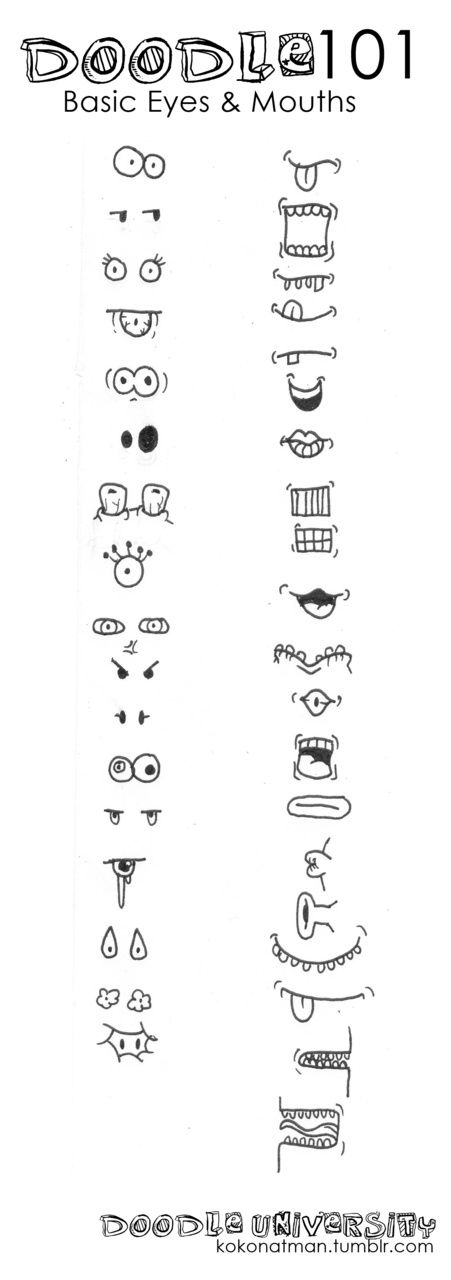 eyes & mouths. facial features (Cool Sketches Easy)