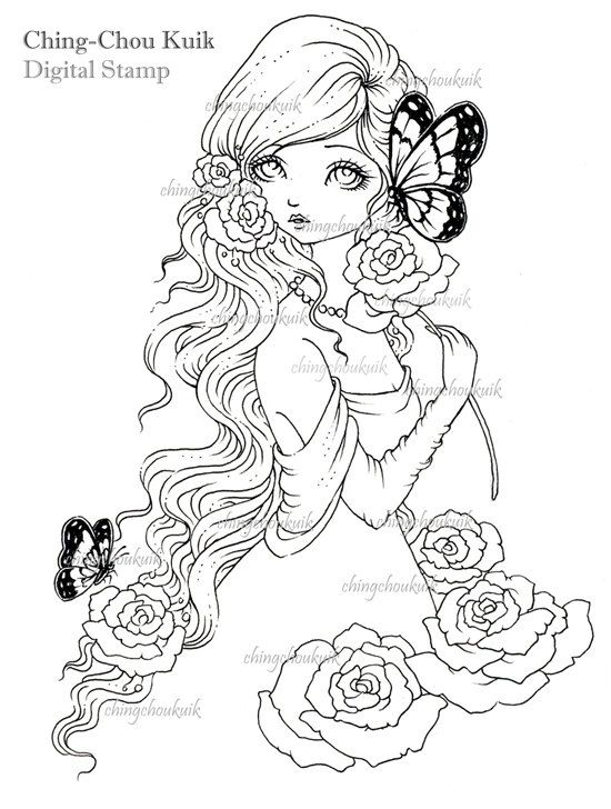 Sweet and Fragrant - Digital Stamp Instant Download / Butterfly Rose Flower Girl Fantasy Art by Ching-Chou Kuik