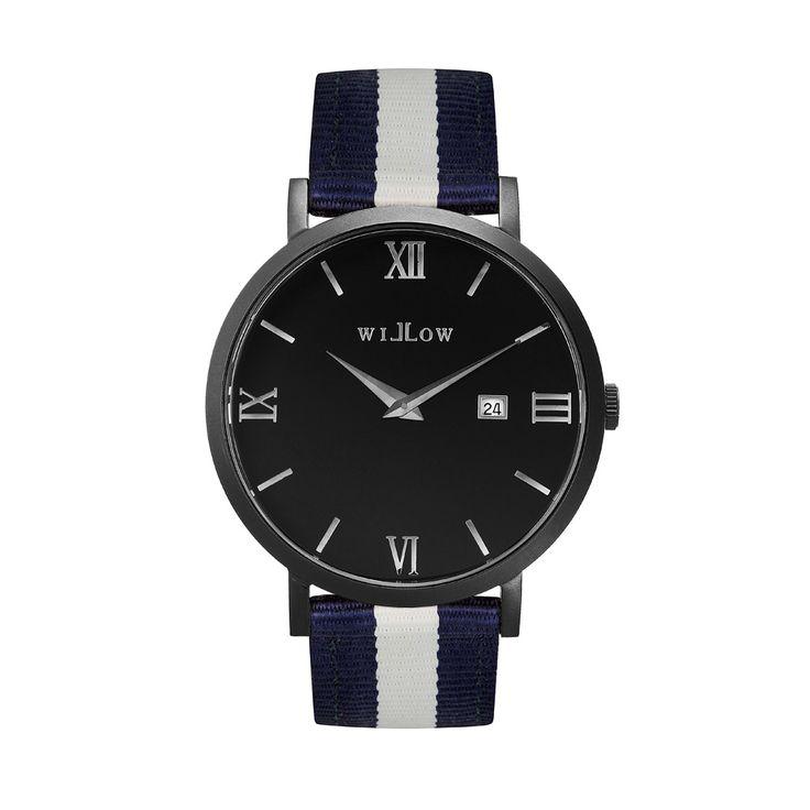 Verona Matte Black Watch & Interchangeable Navy Blue & White Nato Strap.