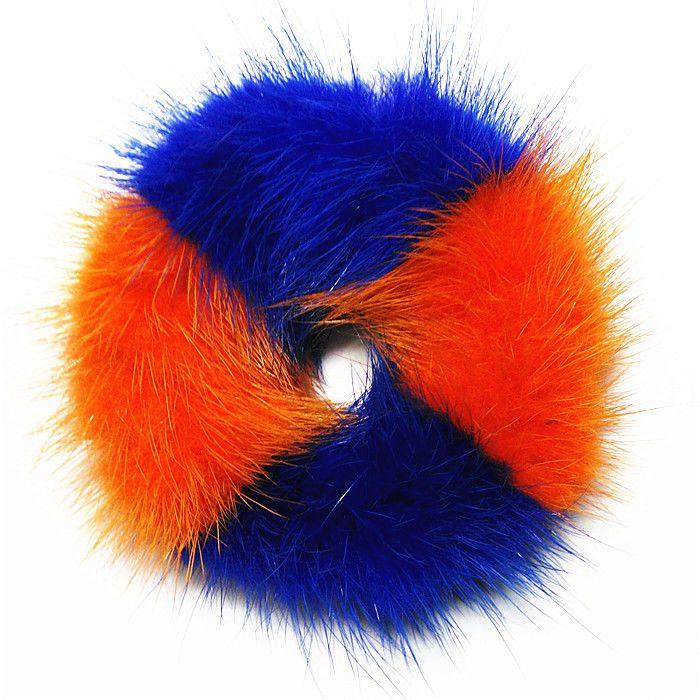 100%Handmade Real Soft Blue & Orange MINK Fur Hair Holder Ponytail Scrunchie DP2