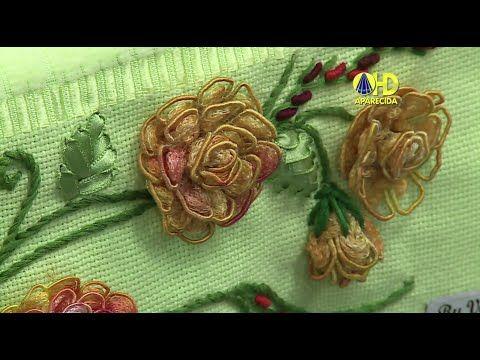 Vida com Arte   Bordado de Flor Camélia Franzida por Valéria Soares - 02 de Fevereiro de 2015 - YouTube
