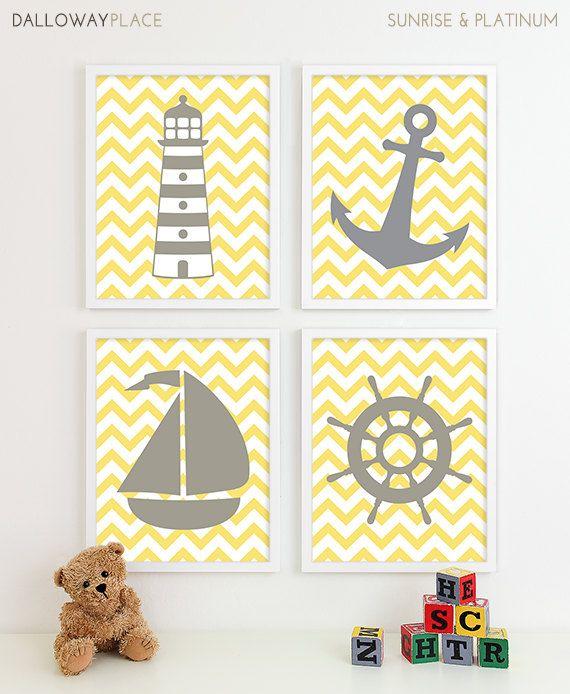 Vivaio nautico, arte bambino ragazza Nursery, oceano grigio giallo vivaio ancoraggio barca nautica Nursery Decor ragazze bambini bambino camera Home Decor