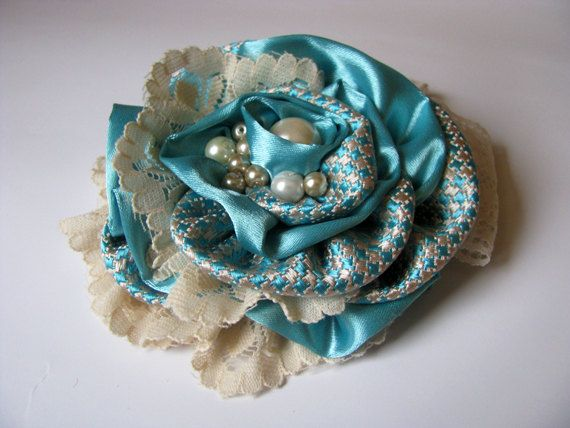 NEW Ivory Blue Lace Satin Flower  Brooch by IrregulaRLady on Etsy, $18.00