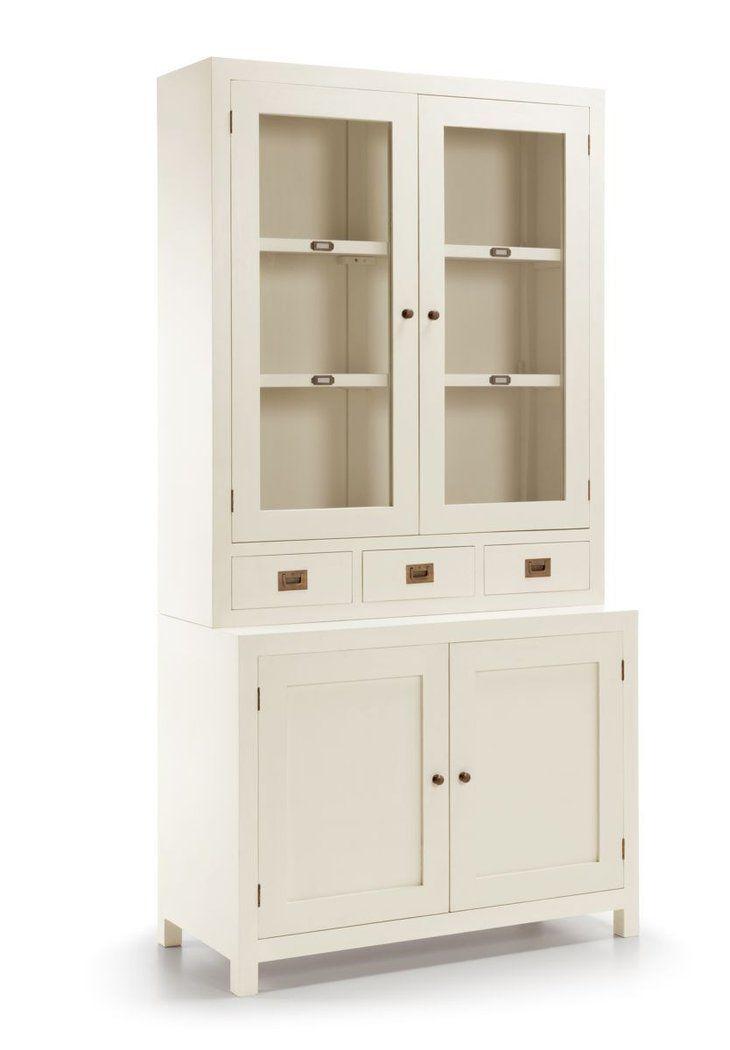 Vitrina colonial blanca jasmine 4 puertas for Color credence cocina blanca