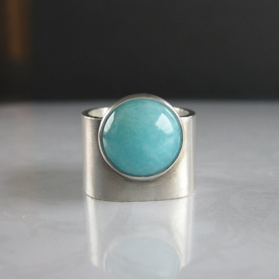 Image of Turquoise Blue Amazonite Wide Band Sterling Silver Ring