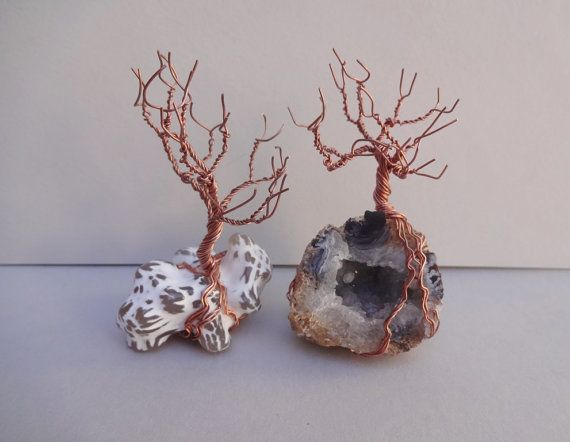 One small Wire Tree on Fire Agate rock by ShungiteJewelryGift
