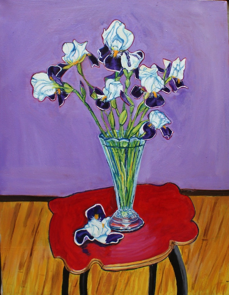 Irises From the Garden - Oil on Canvas