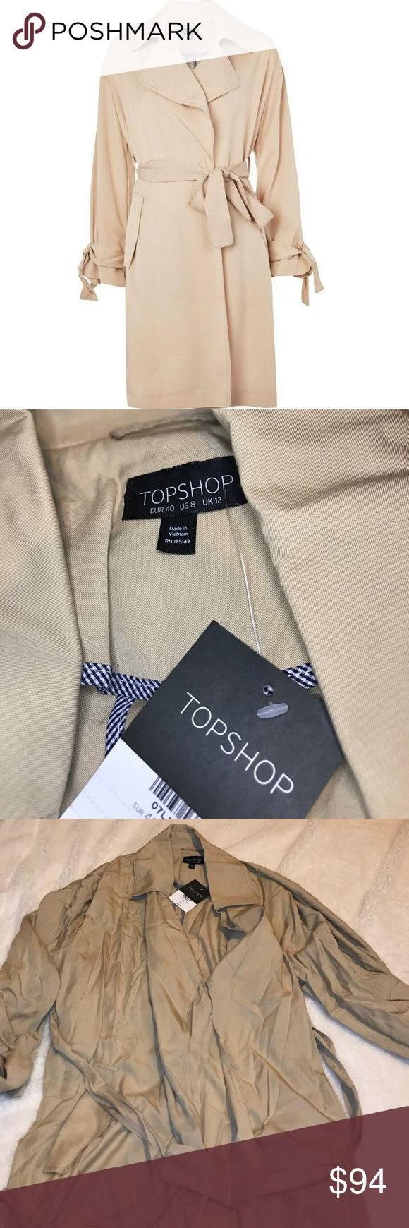 Topshop Khaki Duster Coat Brand New! Received with wrinkles. Topshop Jackets & Coats