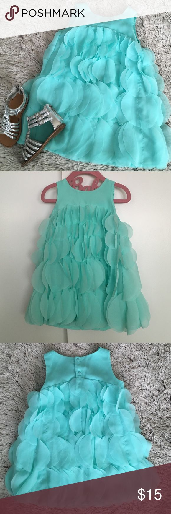 Aqua Party Dress Super cute and only worn once. Aqua colored sleeveless flapper like dress.  Has 2 buttons at the back.  Size 2T Dresses Formal
