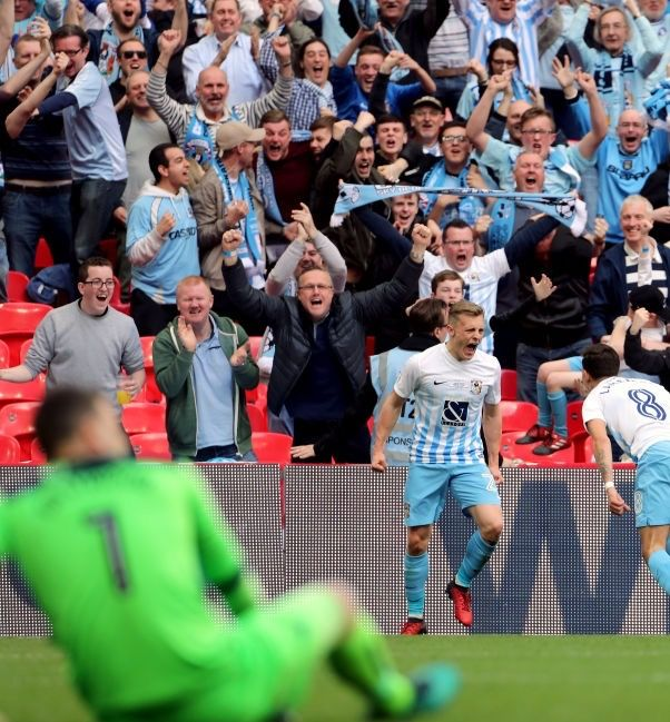Coventry City 2 Oxford Utd 1 in Oct 2017 at Wembley. George Thomas made it 2-0 and Coventry were ecstatic in the FA Football League Trophy Final.
