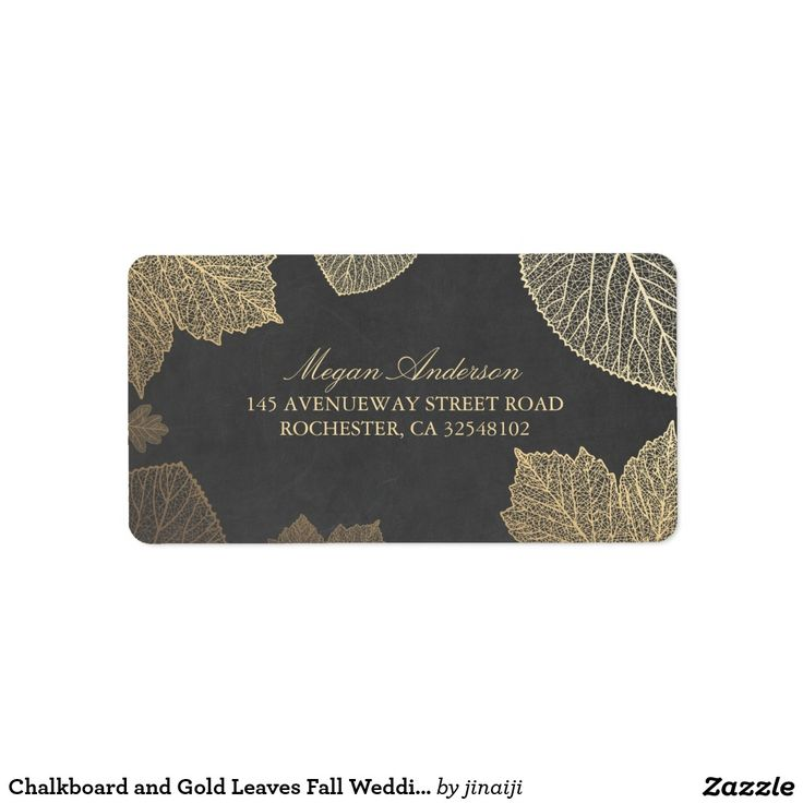 Navy and Gold Leaves Fall Wedding Label