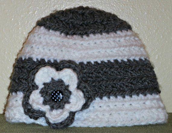 Crocheted Stripe Flower Hat with Polka Dot by TCustomCrochet, $16.00