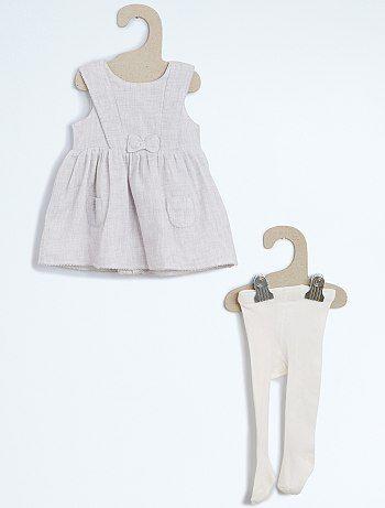 Ensemble 2 pièces robe + collants en maille gris Bébé fille   - Kiabi.be