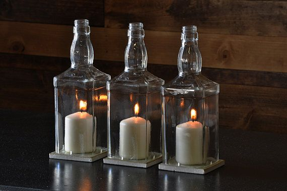 Glass Hurricane Candle Centerpiece от MoonshineLamp на Etsy