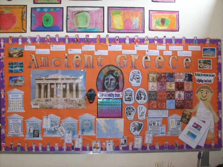 Ancient Greece classroom display photo - Metallic Purple Bordette & Orange Extra Wide Fadeless Paper
