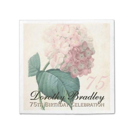 Vintage Hydrangea 75th Birthday Party Paper Napkin