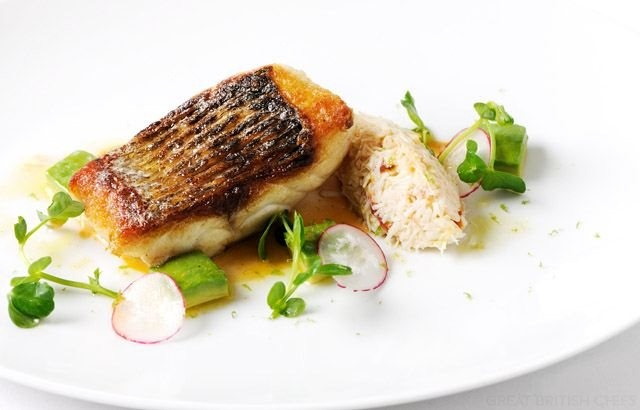 Pan-Fried Sea Bass Fillet Recipe With White Crab Salad