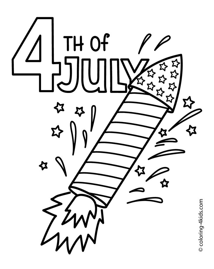 July 4 rocket coloring pages USA