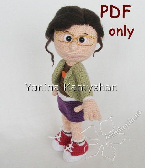 Girl in glasses, crochet doll, amigurumi, pdf