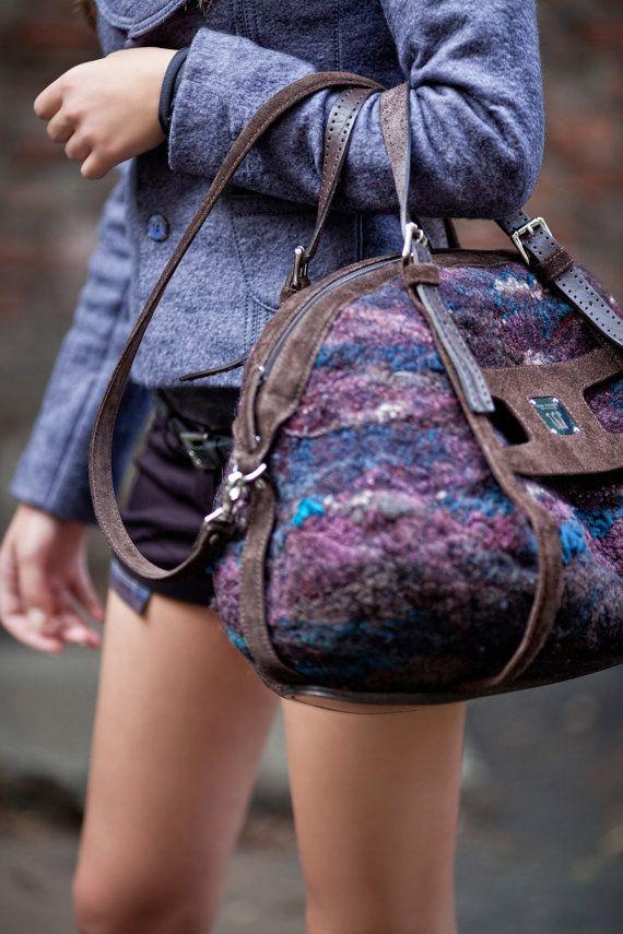 big bag, fashion handbag, handmade, felted bag, beautiful bag, roomy bag, bag with a long handle,hand made