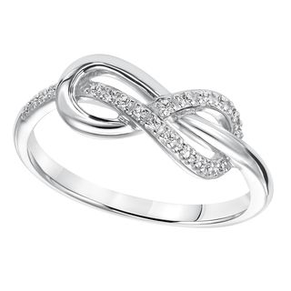 Would be such a perfect promise ring...Cambridge Sterling Silver 1/10ct TDW Diamond Infinity Ring (I-J, I2-I3)