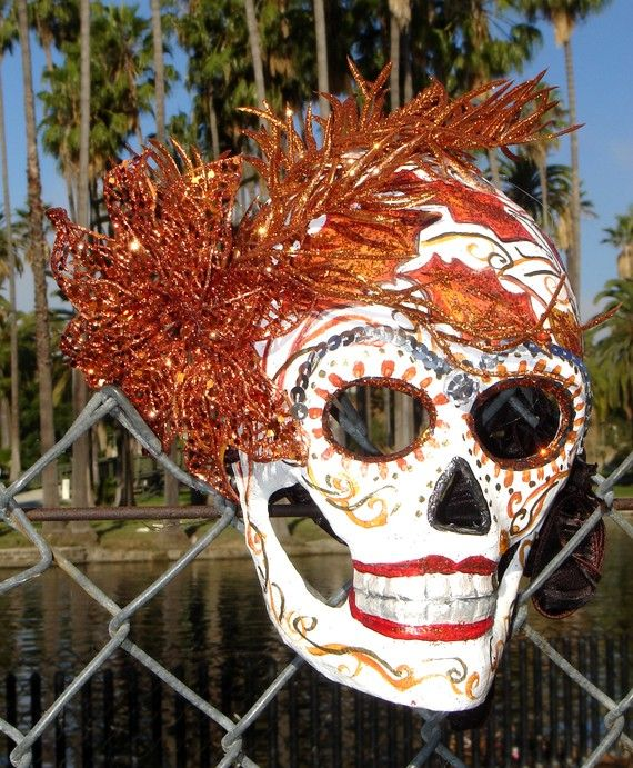 items similar to one of a kind dia de los muertos day of the dead paper mache skull mask autumn on etsy
