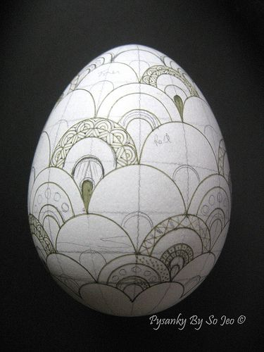 Cranes and Fans Chiyogami WIP Batik Gilded Easter Egg First Waxing