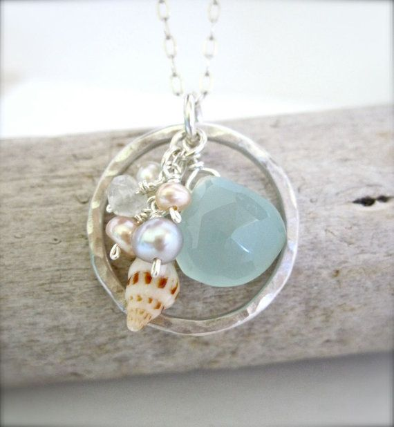 Hawaii shell sterling silver beach necklace - Beach wedding jewelry
