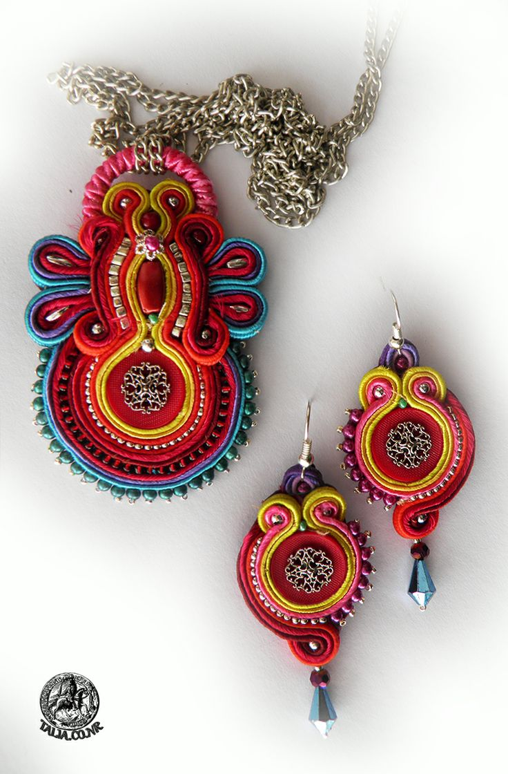 "Soutache pendant with earrings ""All the Colors"""