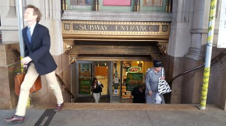 Subway restaurant entrance disguised as subway station entrance in NYC