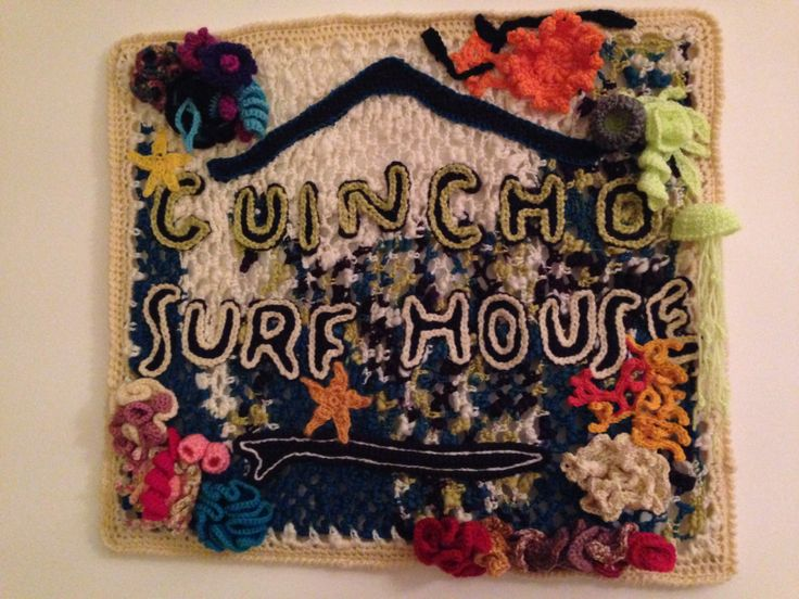 """""""Guincho Surf House"""" it is finally finished ! A crochet panel full of crochet coral reef motifs. I loved to do it :) #crochet #coralreef #freeformcrochet"""