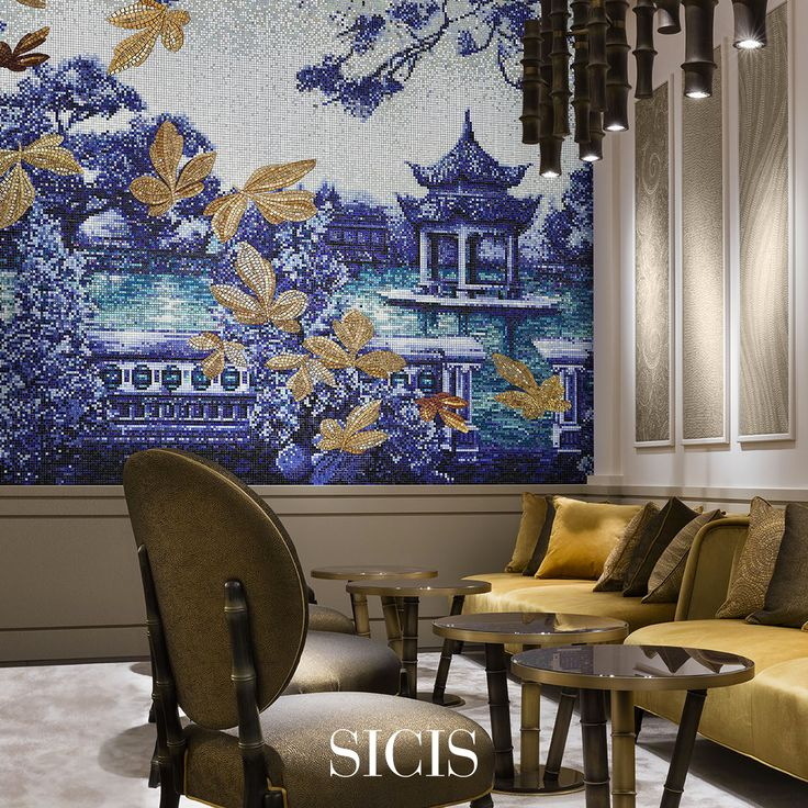 Oriental Mood For A Sumptuous Living Room In Which Gold And Pixel Mosaic  Collections Were Combined
